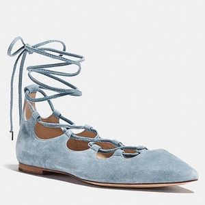 Coach Justin Suede Flat shoes Cornflower baby blue